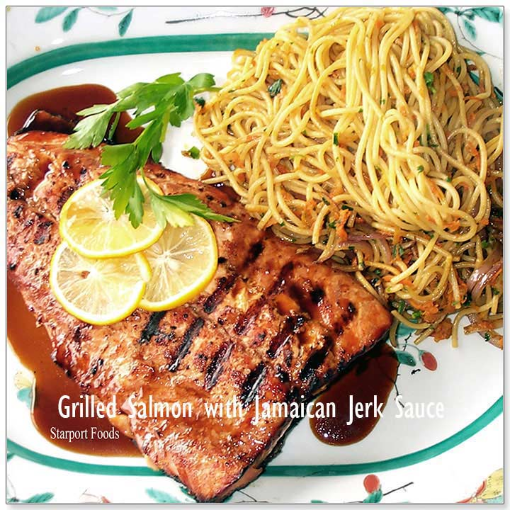 Jamaican Jerk Grilled Salmon with Pasta Recipe image