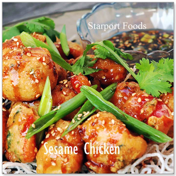 Sesame Chicken with Garlic Sesame and Sweet and Sour Sauce Recipe Image