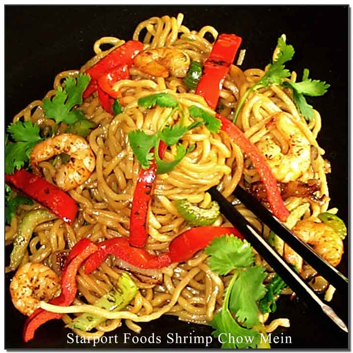 Shrimp Chow Mein with Garlic Sesame Sauce Recipe Image
